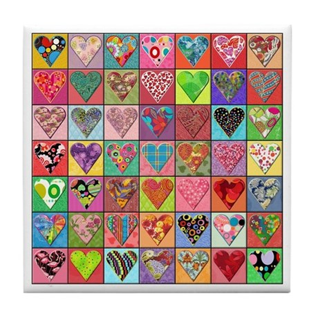 Heart Quilt Tile Coaster