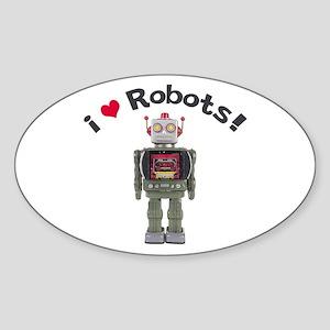 I Love Robots! Oval Sticker