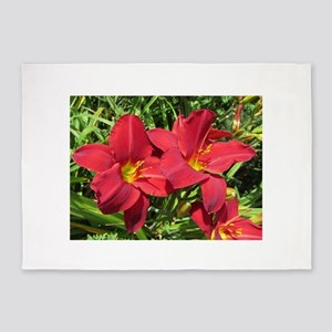 Christmas Red Daylilies 5'x7'Area Rug