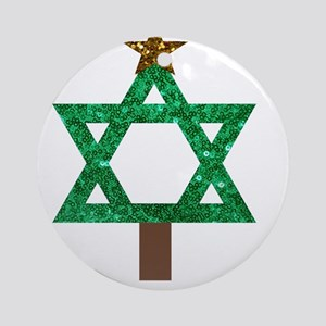 christmukkah christmas tree Round Ornament