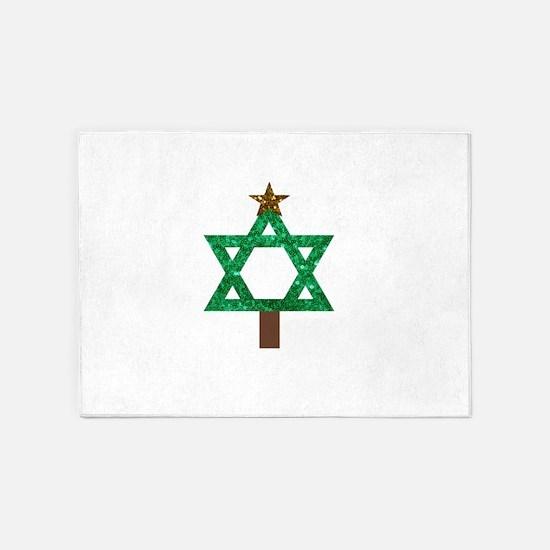 christmukkah christmas tree 5'x7'Area Rug