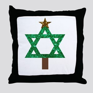 christmukkah christmas tree Throw Pillow