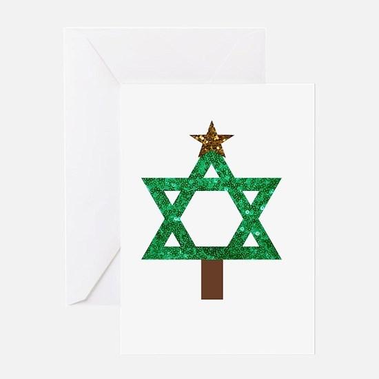 christmukkah christmas tree Greeting Cards