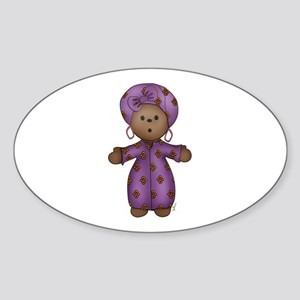 African Doll Oval Sticker