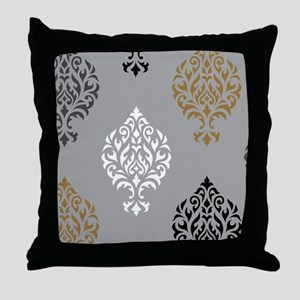 Orna Damask art I BWGG Throw Pillow