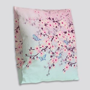 Cherry Blossom with Butterfly Burlap Throw Pillow