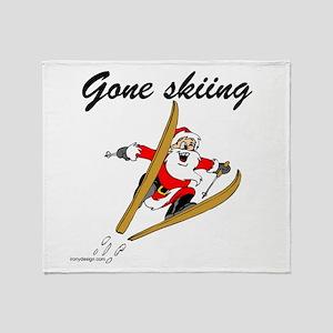 Santa's Gone Skiing Throw Blanket