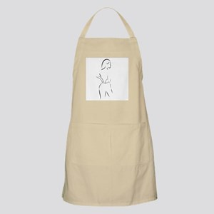 Abstract drawing of a woman massaging her ba Apron