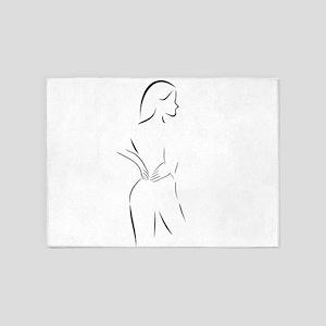 Abstract drawing of a woman massagi 5'x7'Area Rug