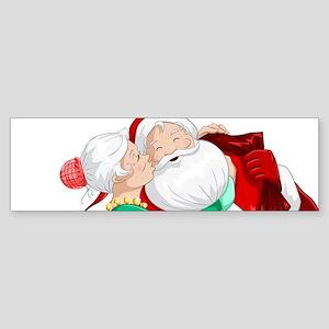 Mrs Claus Kisses Santa On Cheek And Bumper Sticker