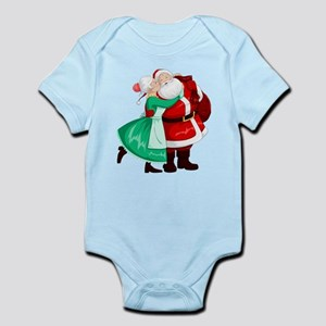 Mrs Claus Kisses Santa On Cheek And Hugs Body Suit