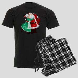 Mrs Claus Kisses Santa On Chee Men's Dark Pajamas