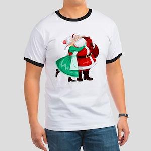 Mrs Claus Kisses Santa On Cheek And Hugs T-Shirt