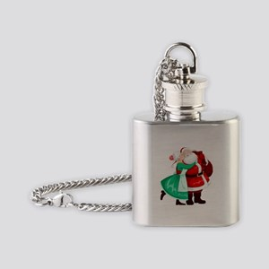 Mrs Claus Kisses Santa On Cheek And Flask Necklace