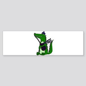 Funny Alligator Playing Bagpipes Bumper Sticker