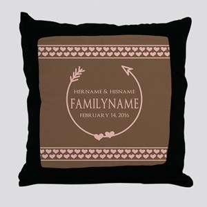 Family Monogram Names and Year Throw Pillow