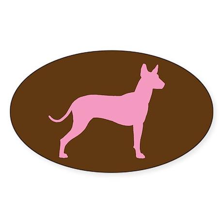 Xolo Dog Pink Profile Oval Sticker