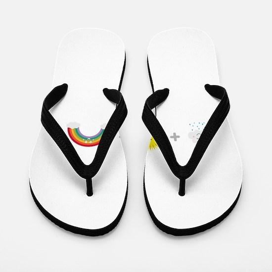 Rain, Sun and Rainbow Flip Flops