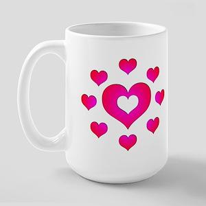Pink Hearts Large Mug