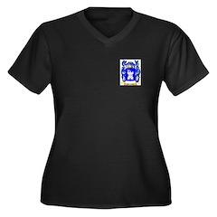 Martschik Women's Plus Size V-Neck Dark T-Shirt