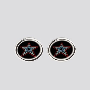 Star with Plaque Oval Cufflinks