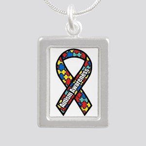 Autism Awareness Silver Portrait Necklaces