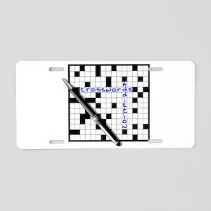 Crosswords addiction Aluminum License Plate