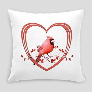 Cardinal in Heart Everyday Pillow