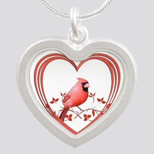 Cardinal in Heart Silver Heart Necklace