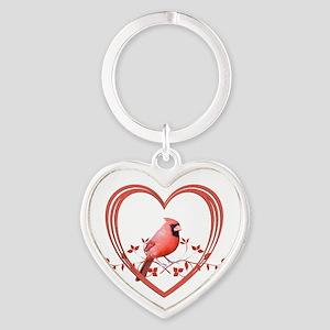 Cardinal in Heart Heart Keychain