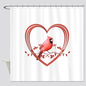 Cardinal in Heart Shower Curtain