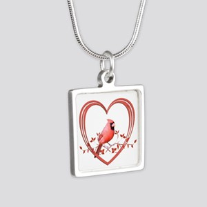 Cardinal in Heart Silver Square Necklace