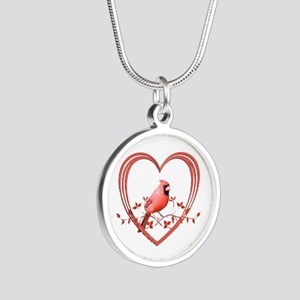 Cardinal in Heart Silver Round Necklace