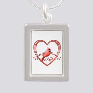 Cardinal in Heart Silver Portrait Necklace