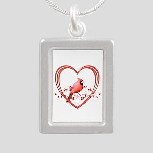 Cardinal in Heart Silver Portrait Necklace
