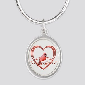 Cardinal in Heart Silver Oval Necklace