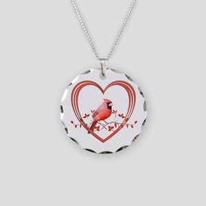 Cardinal in Heart Necklace Circle Charm