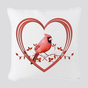 Cardinal in Heart Woven Throw Pillow