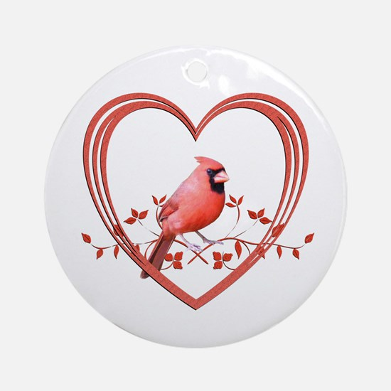 Cardinal in Heart Round Ornament