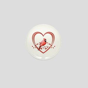 Cardinal in Heart Mini Button