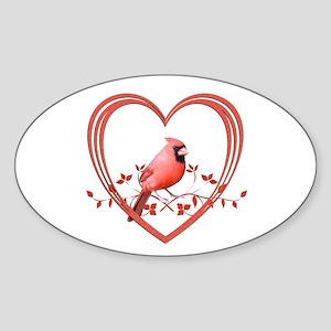 Cardinal in Heart Sticker (Oval 10 pk)