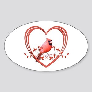 Cardinal in Heart Sticker (Oval)