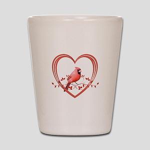 Cardinal in Heart Shot Glass