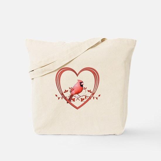 Cardinal in Heart Tote Bag