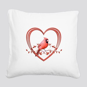 Cardinal in Heart Square Canvas Pillow