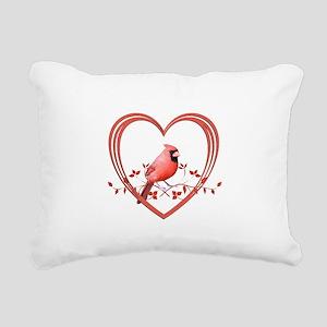 Cardinal in Heart Rectangular Canvas Pillow
