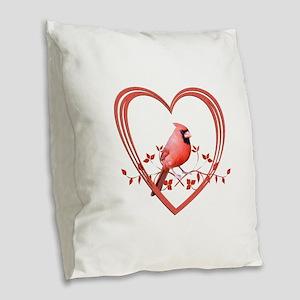 Cardinal in Heart Burlap Throw Pillow
