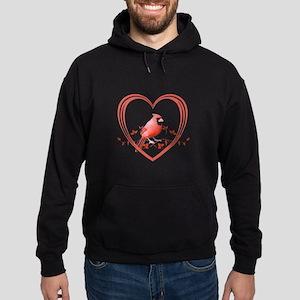 Cardinal in Heart Hoodie (dark)