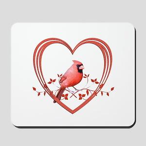 Cardinal in Heart Mousepad