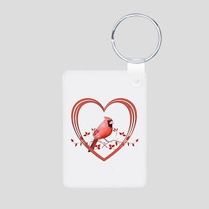 Cardinal in Heart Aluminum Photo Keychain